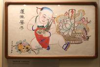 杨柳青年画幼儿莲花图