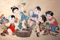 杨柳青年画群童嬉闹图