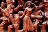 红木雕刻少数民族载歌载舞图案