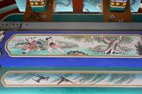 古代孩童放风筝图案线条边框