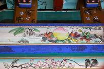 古代孩童献寿桃图案线条边框