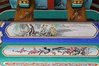 古代老人钓鱼和喜鹊图案线条边框