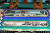古代桥梁和渔船图案线条边框