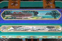 古代亭台楼阁和山村图案线条边框