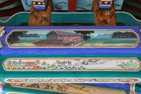 古代亭台楼阁和山寨图案线条边框