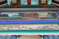 古代亭台楼阁和渔船图案线条边框