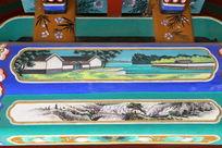 古代亭台院落和山间流水图案线条边框
