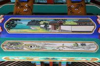 古代亭台院落和小桥图案线条边框