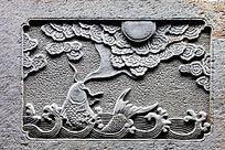 古祠堂栏板石刻鲤鱼跳跃