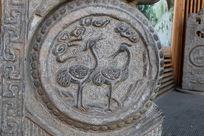 双鹤云纹古典花纹石雕