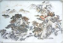 瓷盘上的山水风光中国画