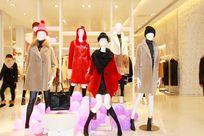 商场皮草店铺模特展示服装组合图