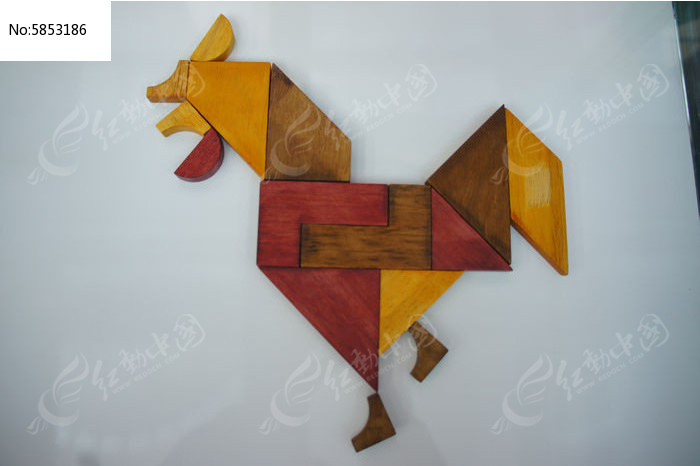 中国传统七巧板拼字生肖鸡图片