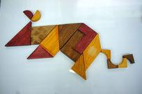中国传统七巧板拼字生肖鼠