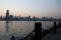 上海黄浦江的黄昏