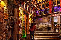 湘西凤凰古镇的古城民居夜色