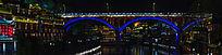 湘西凤凰古镇的沱江大桥灯光