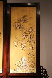 清代寿桃蝙蝠图案象牙画