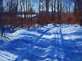 电脑油画《农家雪景》