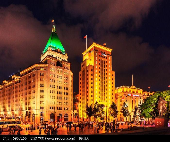 上海外滩高楼夜色灯光风景