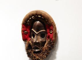 非洲雕刻头套大胡面具