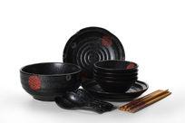 黑色陶瓷餐具套装