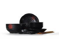 中国风黑色陶瓷餐具套装
