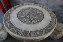 石雕牡丹凤凰图案石桌面