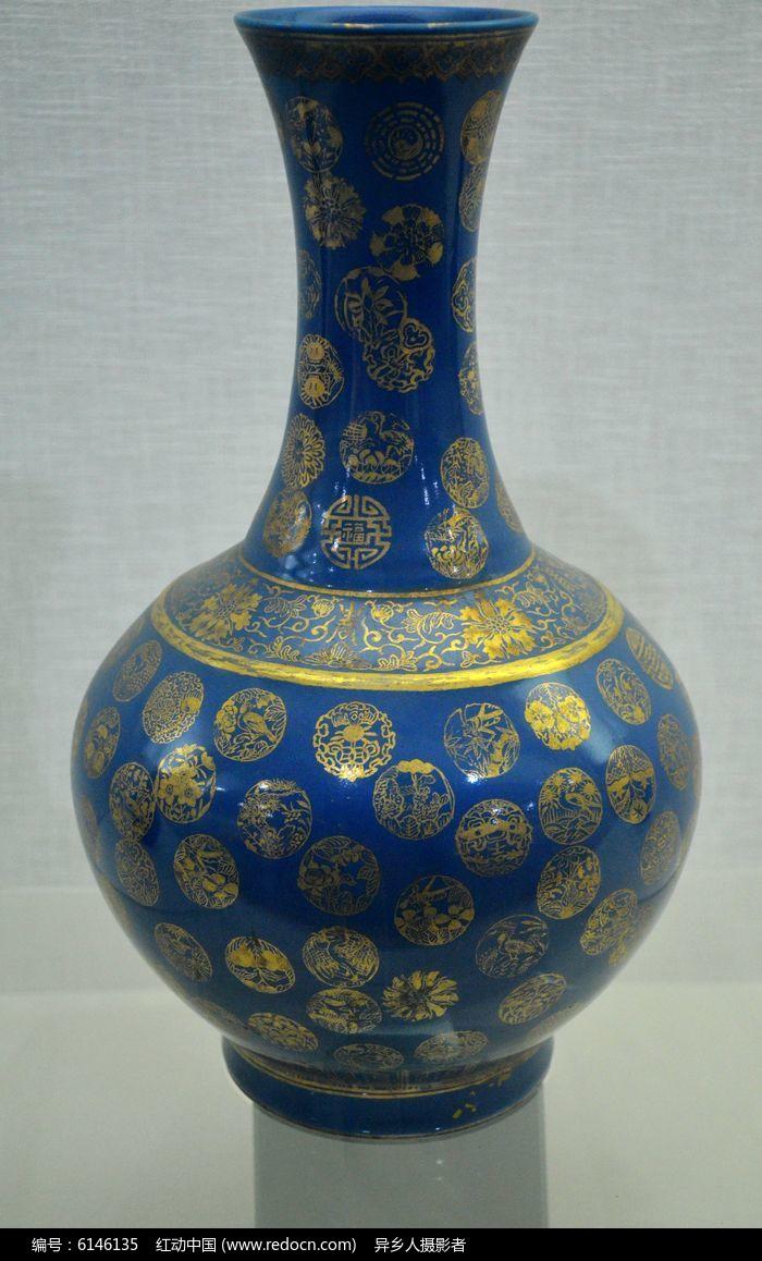 清霁蓝釉描金彩福寿纹赏瓶