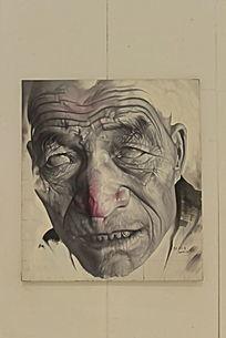 老年男性面部特写油画