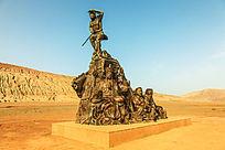火焰山的西游记故事雕塑