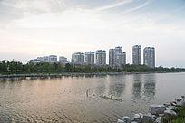 夕阳河边城市建筑
