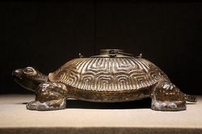 民国时期鎏铜寿龟东来顺款温酒锡壶