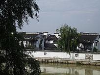 江南建筑房屋和垂柳