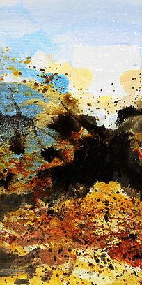 玄关端景抽象油画背景墙壁画