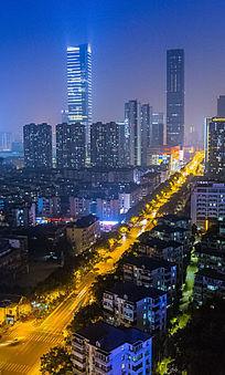 城市夜景鸟瞰图