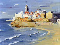 油画海边风景