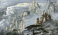 油画黄山风景