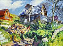 油画乡村风景