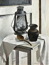 油画有灯的静物