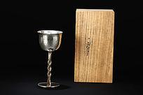 带木盒纯银高脚杯