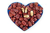 心形盘子里的大红枣