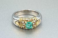 铂金祖母绿戒指正面