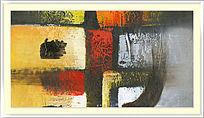 色块抽象油画 酒店装饰画