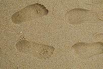 大海沙滩脚印摄影