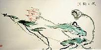 荷花花卉国画