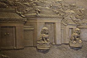 壁刻古代大门和狮子