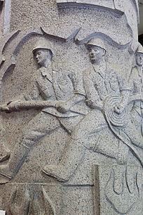 壁刻消防战士救火雕像