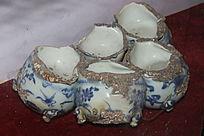 古代青花瓷杯文物