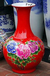 花开富贵红色花瓶